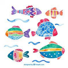 Aquarell bunte fische pack Kostenlosen V. Watercolor Fish, Watercolor Illustration, Watercolor Paintings, Fish Drawings, Art Drawings, Pinterest Pinturas, Fish Patterns, Happy Paintings, Colorful Fish