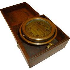 Nautical Antique Brass Compass Gimbaled @rubylanecom #nautical #rubylane