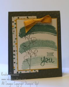 Watercolor Thank You from Inkedcreations.  Using the Work of Art stamp set and new 2014-2016 Stampin' Up! In-colors