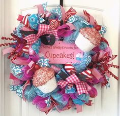 Your place to buy and sell all things handmade Cupcake Birthday, Cupcake Party, Wreaths For Front Door, Door Wreaths, Birthday Wreaths, Sparkly Cupcakes, Cupcake Wreath, Greenery Wreath, Diy Wreath