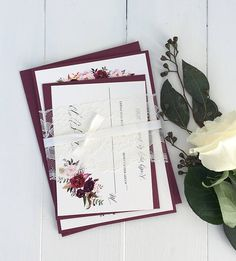 Bohemian Marsala Wedding Invitation, Elegant Wedding Invitation, Lace Wedding Invitation, Fall Wedding Invitation, Blush, Marsala, Vintage. Impress your wedding guests with this gorgeous & professionally designed custom wedding invitation suite featuring a stunning combination of a