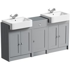 The Bath Co. Dulwich stone grey floorstanding double vanity unit and basin with storage combination Double Basin Vanity Unit, Vanity Units, Bathroom Storage Units, Storage Spaces, Vintage Bathrooms, Upstairs Bathrooms, Bathroom Furniture, Bathroom Ideas, Grey Stone