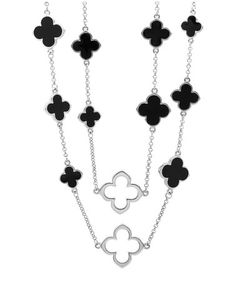 Love this Onyx & Silver Clover Station Necklace by Regal Jewelry on #zulily! #zulilyfinds