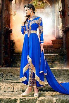 royal Blue Georgette Anarkali Suit With Cigarette Pants online http://www.andaazfashion.fr/salwar-kameez/anarkali-suits