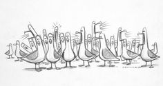 """Concept art illustration of the dimwitted but gluttonous seagulls from Pixar's """"Finding Nemo"""" Character Sketches, Character Design Animation, Character Design References, Character Illustration, 3d Character, Disney Sketches, Disney Drawings, Cartoon Drawings, Disney Love"""