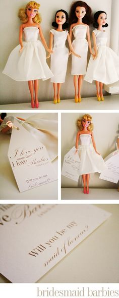 Will you be my bridesmaid Barbies...such a presh idea!