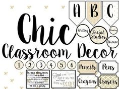 Gold, White, and Black Chic classroom decor. Just print and use!
