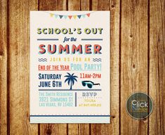 School's Out for the Summer // End of Year Party // by ClickNshape