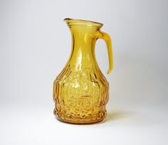 Jug ENESCO Italy pressed glass decanter amber by CLAUHAUS on Etsy