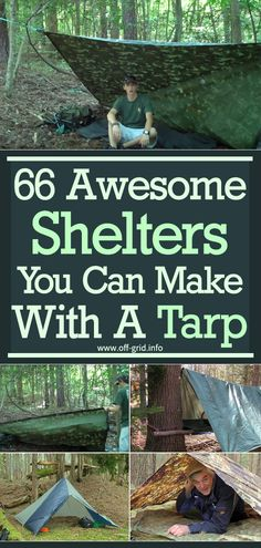 The tarp an ideal material for constructing some pretty cool makeshift shelters when it comes to survival in the wild. Homestead Survival, Survival Tips, Survival Skills, Survival First Aid Kit, Survival Essentials, Survival Books, Bushcraft Skills, Wilderness Survival, Outdoor Survival