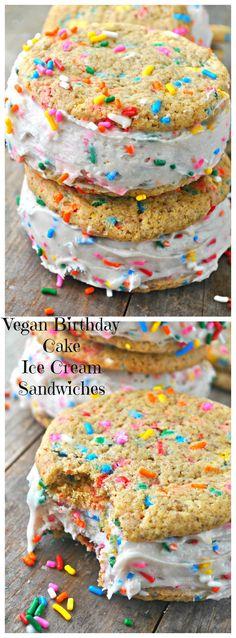 Vegan Birthday Cake Ice Cream Sandwiches - Rabbit and Wolves - Dessert Vegan Birthday Cake, Ice Cream Birthday Cake, Birthday Desserts, Frozen Birthday, Birthday Parties, Vegan Treats, Vegan Foods, Vegan Dishes, Cake Batter Ice Cream