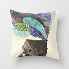 birdhouse revisited Throw Pillow