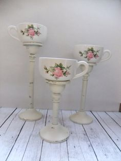 Tea Cup Candleholders, tea light votive candles, Vintage Upcycled Shabby Chic Home Decor, Centerpiece Wedding on Etsy, $22.50