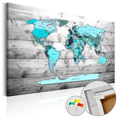 WORLD MAP - Mapa del Mundo en  Tablero de Corcho - Blue continents de Thegiftclub en Etsy