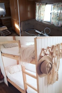 How to build bunk beds for your caravan — The Casa Collective. Caravan Bunk Beds, Diy Caravan, Caravan Ideas, Caravan Renovation Before And After, Viscount Caravan, Bunk Beds Built In, Caravan Makeover, Camper, Building