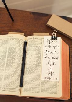 For a traditional and devout couple, have guests underline/highlight/circle their favorite bible passage! This can also be adapted for a favorite novel for a couple that share a love of reading! Image by Paige Newton photography