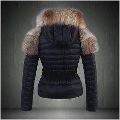 nouvelle doudoune moncler veste femme fourrure Marron noir a vendre