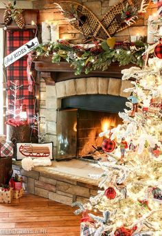 Christmas mantel decor with sleigh ride theme including antique snowshoes, a toboggan and birch logs Cabin Christmas Decor, Christmas Fireplace, Christmas Mantels, Christmas Decorations, Woodland Christmas, Table Decorations, Christmas Fashion, Christmas Love, Country Christmas