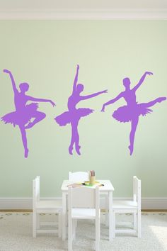 Wall Decals  Ballet ballerina, pirouette, on pointe, bubbles,-WALLTAT.com Art Without Boundaries