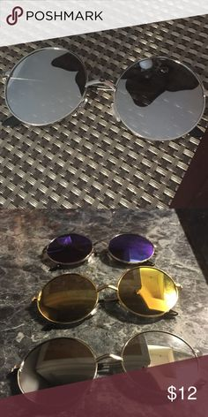 Amazing super flat silver round mirror!! Silver frame super flat mirrored lenses absolutely beautiful and stylish! Get yours soon! ❤️ Accessories Sunglasses