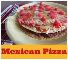 Mexican Pizza-I LOVE mexican pizzas from Taco Bell so I was afraid I'd be let down by this, but I wasn't! I stuck to the recipe exact. Little tip though, punch holes with forks through your tortillas or else they will ballon up. Mexican Dishes, Mexican Food Recipes, Beef Recipes, Cooking Recipes, Yummy Recipes, Recipies, Cooking Ideas, Dinner Recipes, Tostadas