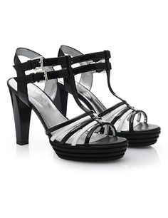 #HOGAN Women's Spring - Summer 2013 #collection: OPTY #sandals with black & white thin straps.
