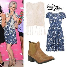 Perrie wore a New Look Blue and White Daisy Print Cap Sleeve Skater Dress (£14.99), a New Look Cream Crochet Knit Waistcoat (£16.99), and a pair of studded chelsea boots to Little Mix's nail collection launch at New Look. You can get similar boots at Debenhams (£30.00).