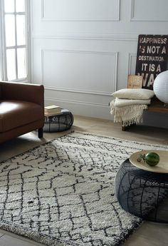 An affordable Beni Ourain style rug from La Redoute. Scandinavian living room inspiration with an amazing rug.