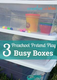 Easy to put together and lots of fun for preschoolers - pretend play busy boxes. Love these!