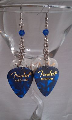 Dark Blue Fender Guitar Pick Earring. $12.00, via Etsy.