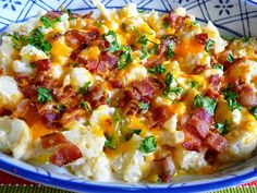 CREAMY CAULIFLOWER, CHEDDAR CHEESE AND BACON Fabulous side dish worthy of company! So simple, yet so very tasty. This is a pretty side dish with plenty of lovely color. I know I'll be serving it to