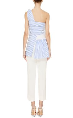 Striped Gathered One-Shoulder Top by J.W. Anderson - Moda Operandi