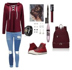 """""""awesome!!《》"""" by lola-madridista ❤ liked on Polyvore featuring Topshop, Converse, NARS Cosmetics, Maybelline, Smith & Cult, Apple and Deux Lux"""