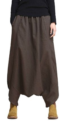 Loose Women Solid Elastic Waist Pockets Harem Pants