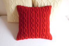 Christmas red knit  cushion cover crimson cable by Adorablewares