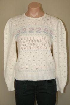 Vtg 60s 70s Pandora Ivory Eyelet Floral Motif Wool Blend Top Sweater size S M #Pandora #Crewneck