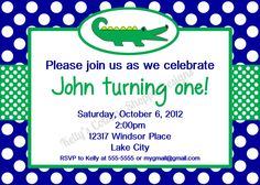 Preppy Gator Birthday Party Invitation- Blue & Green.... Custom, Printable, Digital. $9.50, via Etsy.