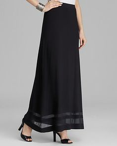 VINCE CAMUTO Maxi Skirt with Chiffon Inset | Bloomingdale's