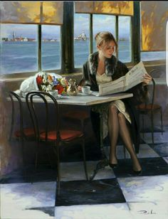 Ricardo Sanz is a Spanish* Portrait painter and Landscapist. For biographical notes and early works by Sanz see Ricardo Sanz, 1957 Café Vintage, Jack Vettriano, Spanish Art, Cafe Art, Reading Art, Woman Painting, Beautiful Paintings, Female Art, Pin Up