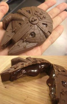 A chocolate-filled chocolate Millennium Falcon!