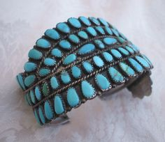 Huge VINTAGE ZUNI Sterling Silver TURQUOISE PETIT POINT Cuff BRACELET Rare Design   eBay