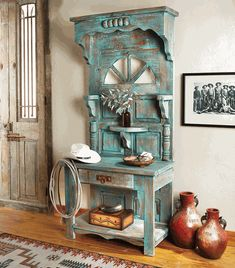 Mesa Verde Hall Tree Cabinet - Turquoise highlights add to the vintage southwest design of this ponderosa pine cabinet, while two shelves and a single drawer offer just the right storage to your entryway. Repurposed Furniture, Custom Furniture, Cool Furniture, Living Room Furniture, Painted Furniture, Furniture Design, Furniture Ideas, Modern Furniture, Antique Furniture