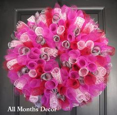 Spiral Deco Mesh Wreath Pink Red Black/White Gingham by AllMonthsDecor