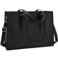 Amazing offer on Laptop Bag Women Waterproof Lightweight Leather Inch Computer Tote Bag Business Office Briefcase Large Capacity Handbag Shoulder Bag Professional Office Work Bag Black online - Looknewclothing Office Bags For Women, Laptop Bag For Women, Laptop Tote Bag, Crossbody Bag, Messenger Bags, Large Leather Tote Bag, Leather Laptop Bag, Work Handbag, Shoulder Bags For School