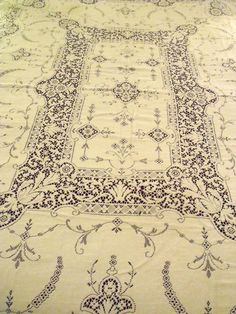 "Quaker Lace Tablecloth #542 Floral Pattern Ecru Darker Off-White 62""x90"" Vtg3 #Quakerbeigetag542"