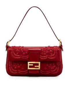 4ffc97531ac Fendi Embroidered Leather Baguette Shoulder Bag