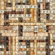 Craftsmen by Dan Morris for Studio 8 Tape Measrues – Natural 44″ width 100% cotton