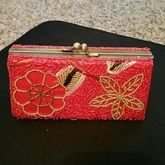 Real cute red beaded little Very beautiful beaded little hand wallet in excellent condition N/A Bags Clutches & Wristlets
