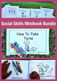 Teaching kids social skills with social story mini books is a great way to encourage positive behaviors in children.  These four social story mini books teach children how to: take turns, Introduce themselves, join in a game or conversation, and also how to start a conversation.  This mini books can be used with children ages 4 and up and are perfect for use with children with Autism and other special needs. These social stories can be used by teachers, counselors, and parents.