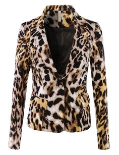 LE3NO Womens Fitted Single Button Long Sleeve Printed Blazer Jacket